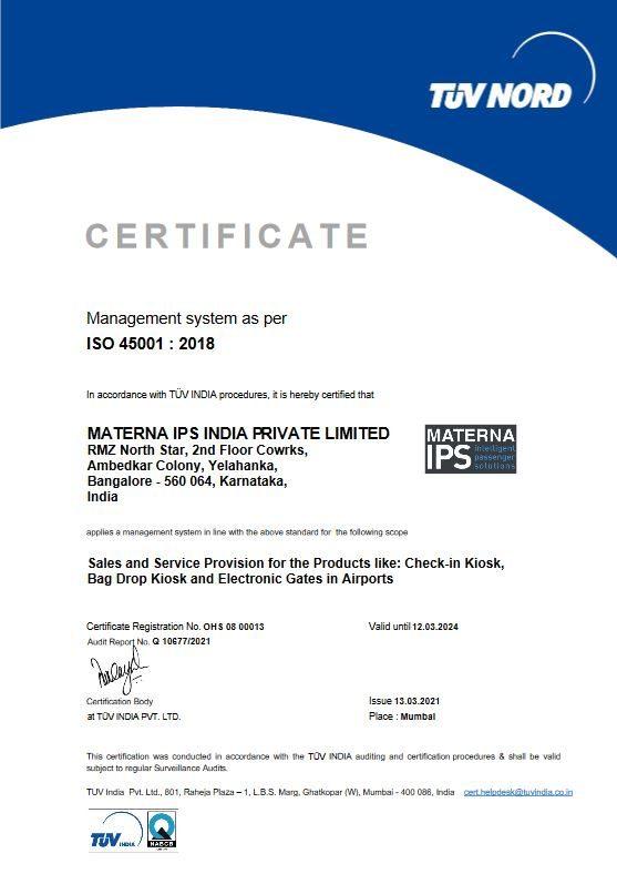 certificate 45001