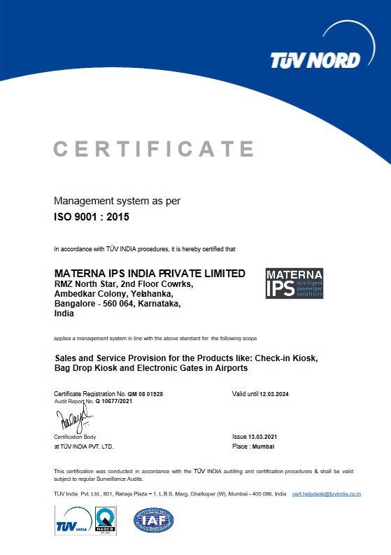 certificate 9001 IPS India